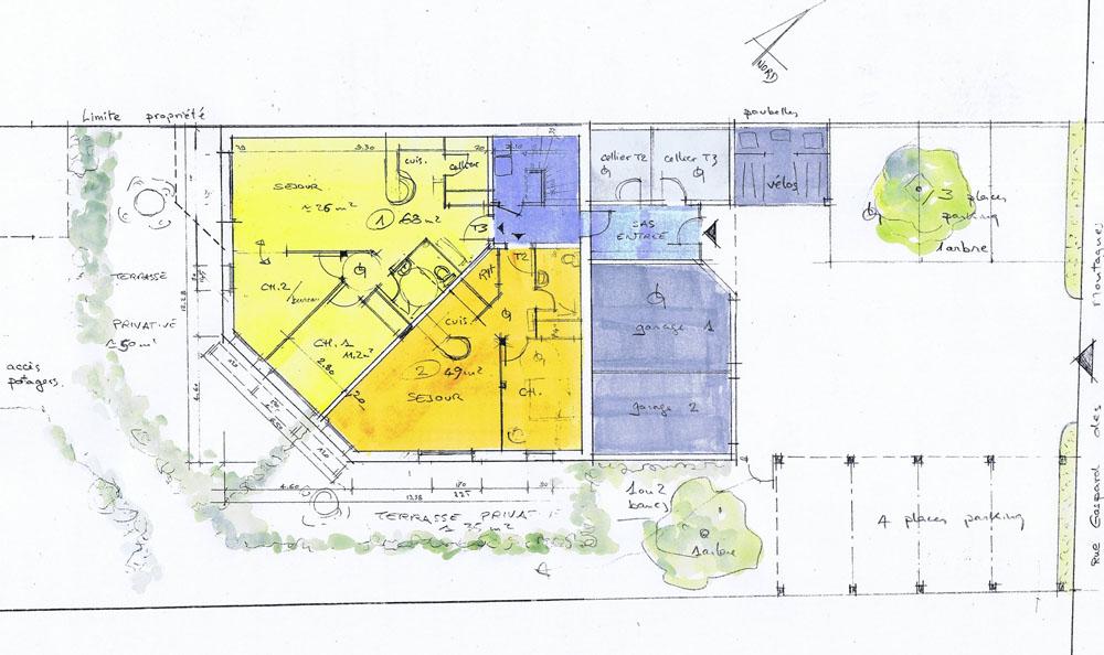 Construction d un collectif bioclimatique batir for Immeuble bureau plan